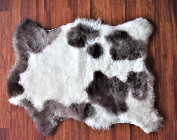 Sheepskin Rug White Brown Genuine Sheepskin Rug, Throw, Chair Cushion, Handmade Eco-Friendly Sheep Skin