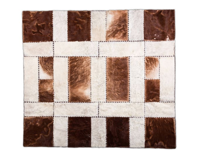 "AYDIN Imported Cowhide Patchwork Area Rug, Hair-On-Hide, Handmade, 5'11"" x 6'7"""