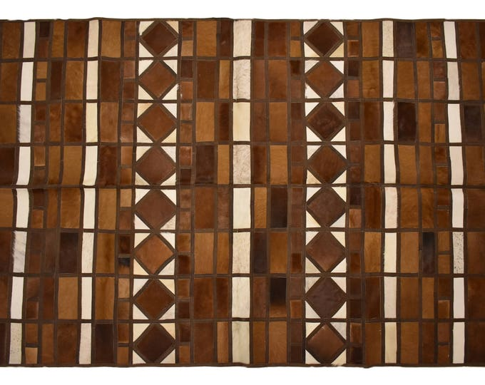 "AYDIN Mosaic Imported Cowhide Patchwork Area Rug, Genuine Hair-On-Hide, 5'3"" x 8'0"""