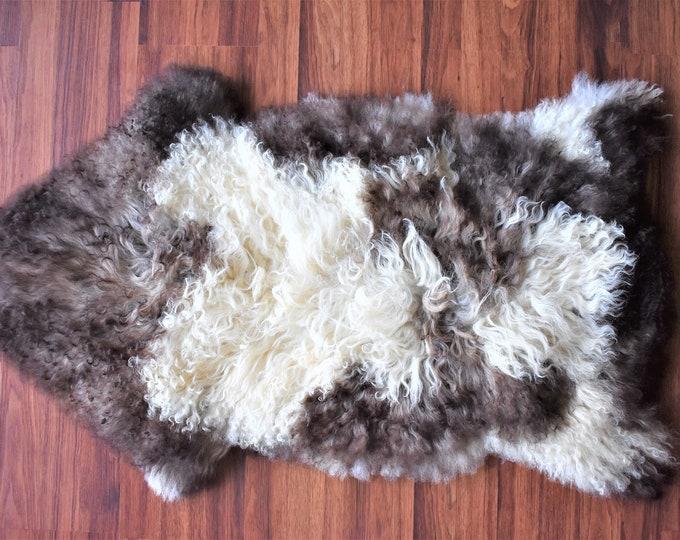 Genuine Sheepskin Rug Natural Creamy White Brown Sheepskin Rug, Pelt, Original Sheepskin Throw