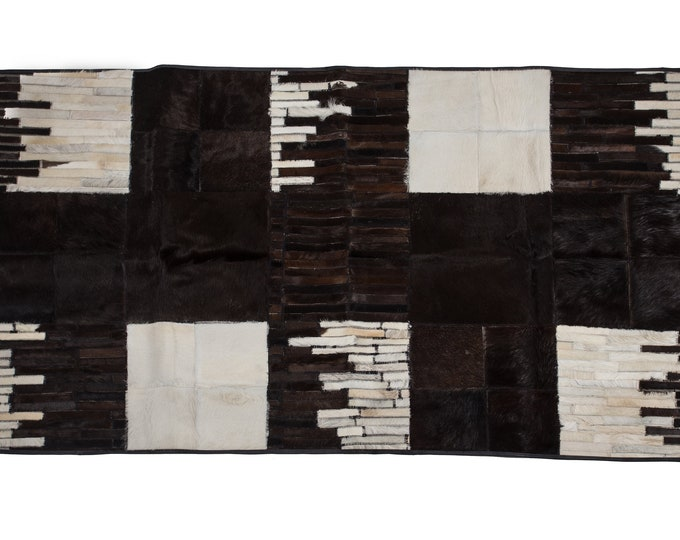 "AYDIN Mosaic Cowhide Patchwork Area Rug, Black and White, 3'9"" x 6'5"""