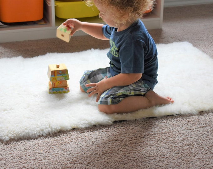 Sheepskin Montessori Toddler Play Mat, Activity Fun Rug, Eco Friendly Natural Sheepskin Rug, Genuine Leather Nursery Rug, Kids Play Mat
