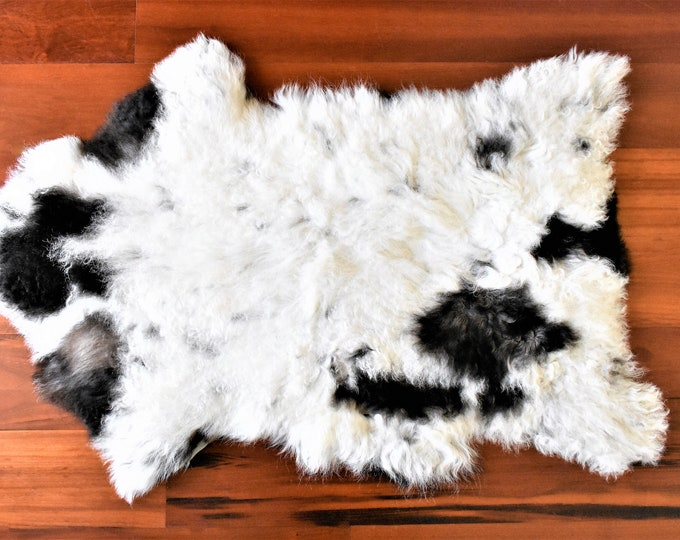 Real Icelandic Genuine Sheepskin Rug White Black Fur