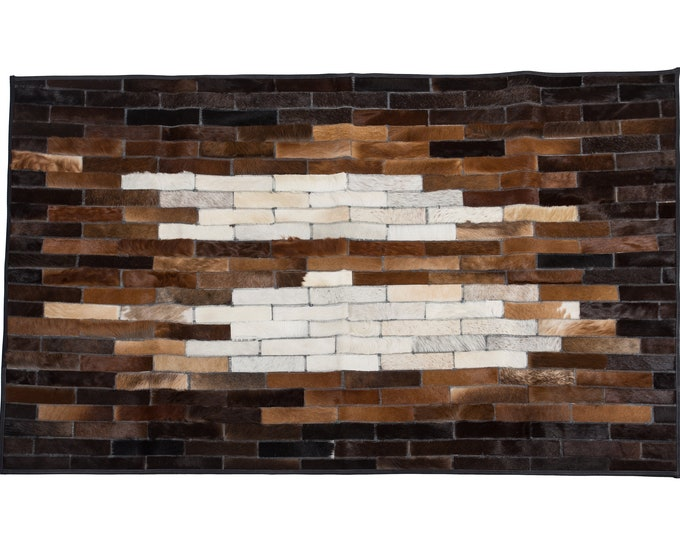 "AYDIN Luxury Crafted Cowhide Patchwork Area Rug, Unique Ethically Sourced, Hair-On Genuine Leather, Modern Premium Quality, 3'7"" x 6'0"""