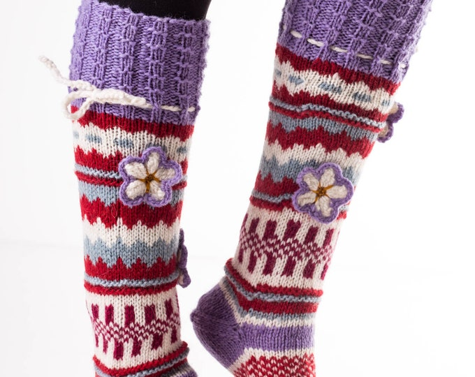 Virus Resistant Eco-Friendly Hand Knit Wool Socks for Women, 100% Sheep Wool