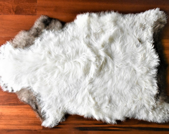 Real Icelandic Genuine Sheepskin Rug  White Brown Fur