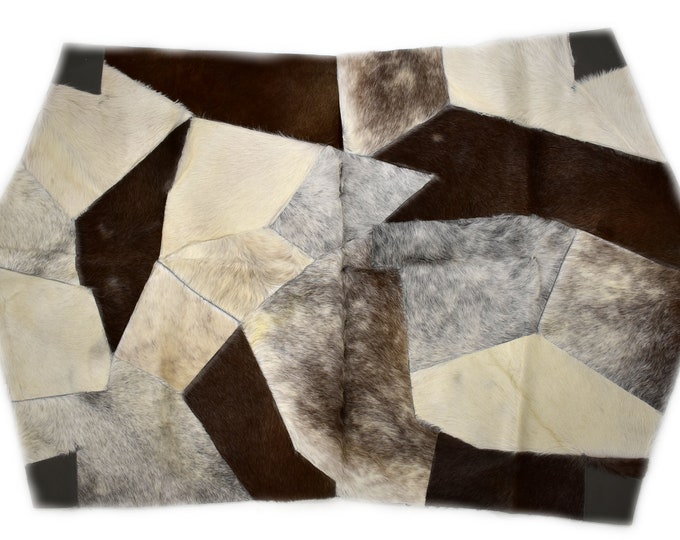 "AYDIN Modern Humanely Sourced Octagonal Cowhide Patchwork Accent Rug, Hair On Genuine Leather, Hand Tanned, Premium Quality, 3'7"" x 5'9"""