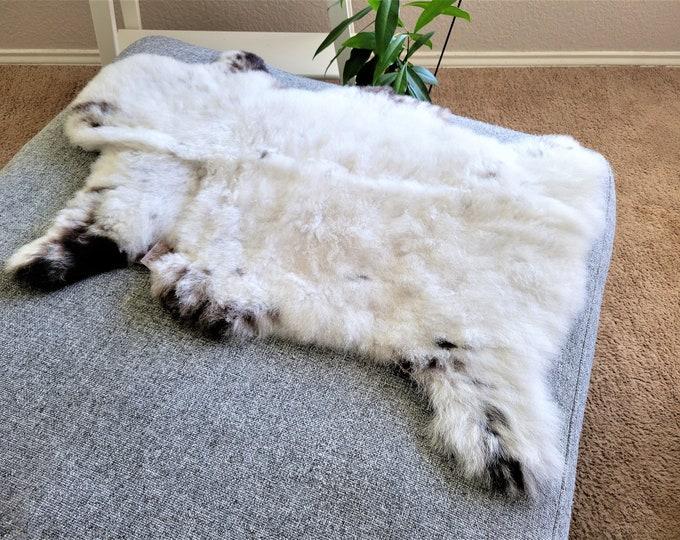 White Brown Sheepskin Rug, Ethically Sourced, Genuine Handmade, 23 x 32 in.