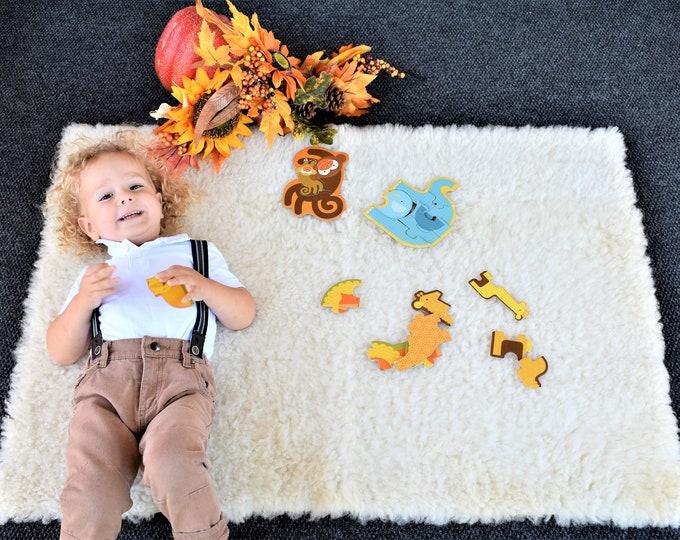 Thanksgiving Sheepskin Pelt, Rectangle Stunning Soft Toddler Activity Sheepskin Throw, Fall Season Toddler Leather Rug