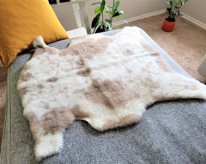 Cream Beige Brown Genuine Sheepskin Rug   Fluffy Sheepskin Carpet   Unique Sheepskin Carpet   Scandinavian Style, 28 x 31 in.