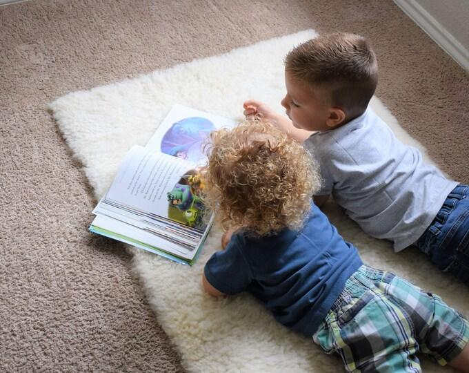 Play Mat for Kids Natural Sheepskin, Eco Friendly Genuine Sheepskin Rug, Creamy White Sheep Skin Play Rug,