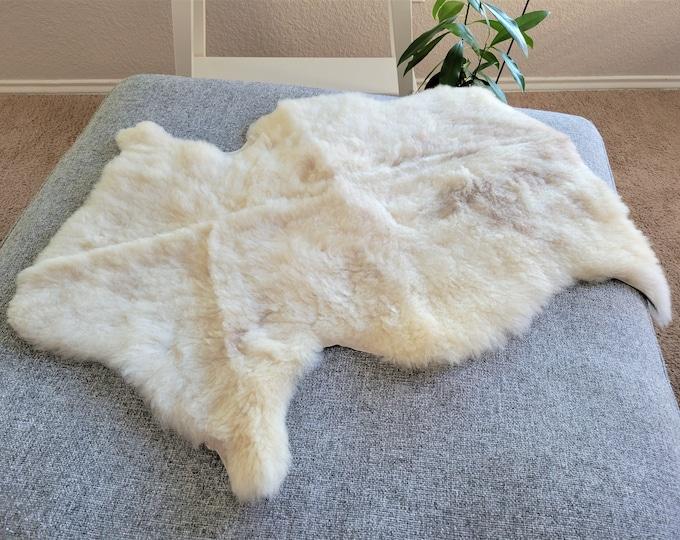 Sheepskin Throw, Warm Fur Pelt Eco Friendly Products, Beige Brown Soft  Wool, 24 x 34 in.