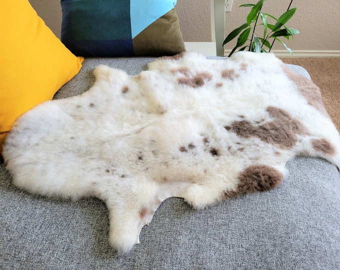 Nursery Mat, Stunning Sheepskin Throw, Leather Rug, Eco Friendly Products, Cream Brown , 25 x 37 in.