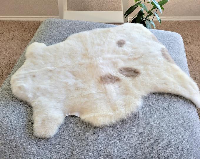 Sheepskin Rug, Zero Waste Gift, Sheepskin Rug, Sheepskin Throw,  Beige Brown Soft Wool, 27 x 32 in.