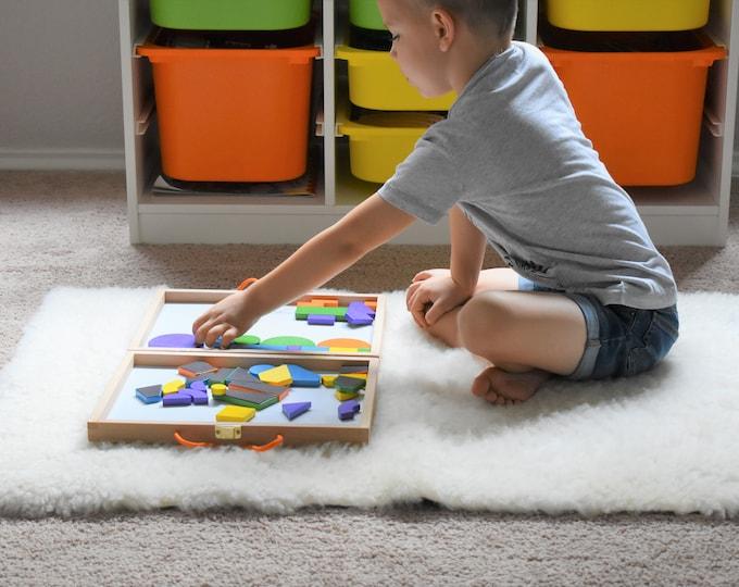 Sheepskin Kids Play Mat, Montessori Work Place Mat, Genuine Natural Sheepskin Rug, Montessori Classroom Rug, Montessori Bed Side Rug