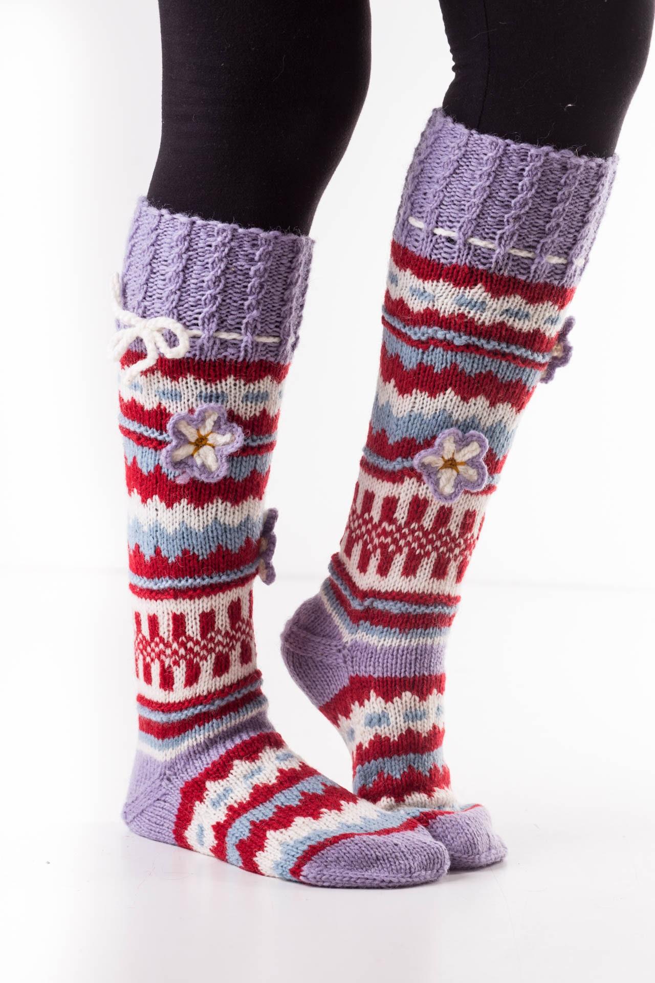 f2eb084bbe4 Aydin Hand Knit Wool Knee High Women s Socks Warm 100% Sheep Wool Boots  Winter Socks Handmade Long Soft Socks