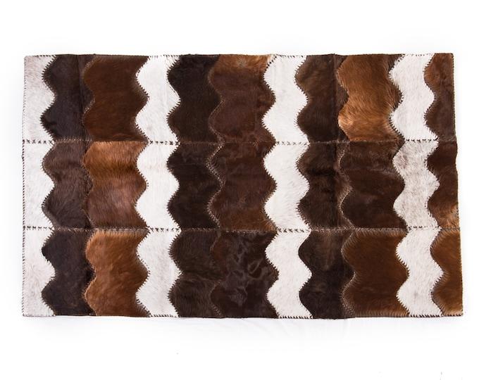 """AYDIN Cowhide Patchwork Area Rug Handmade, Genuine Hair-On-Hide, Brown Cream 4'0"""" x 6'4"""""""