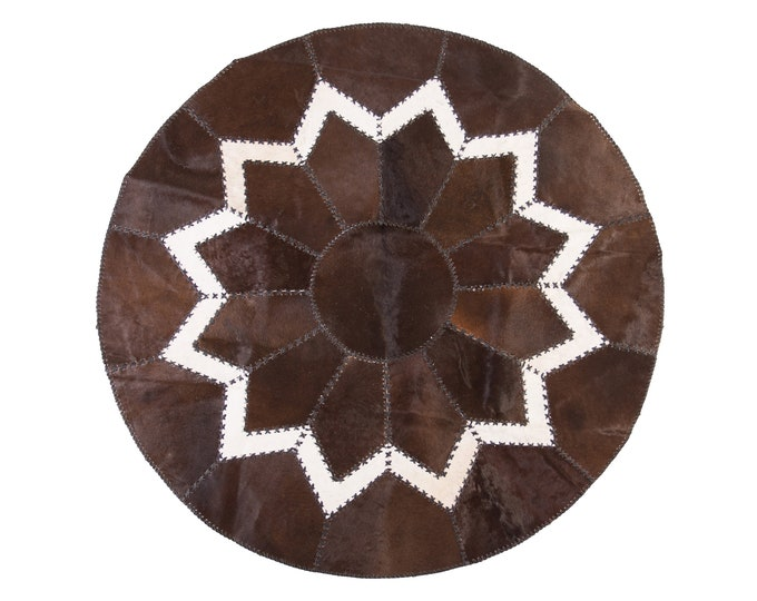 """AYDIN Luxury Ethically Sourced Round Cowhide Patchwork Area Rug, Hair-On-Hide, Diameter  5'2"""""""