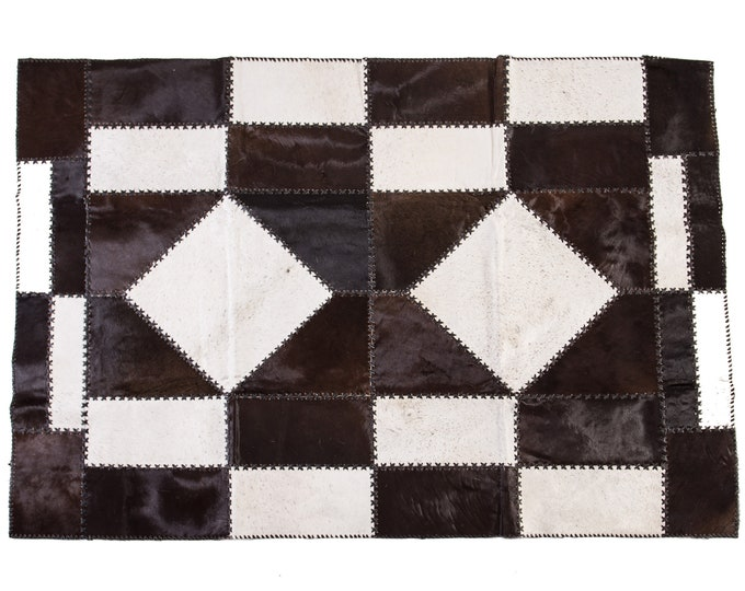 """AYDIN Cowhide Patchwork Rug, Hand Made, Hair-On-Hide, Black and White 4'7"""" x 6'6"""""""