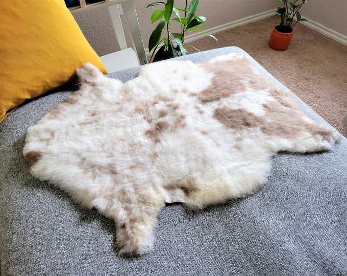 Sheepskin Pelt,  Sheepskin Throw, Soft Cream Brown Wool, 20 x 31 in.