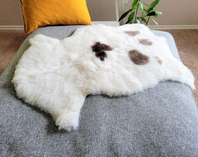 Sheepskin Pelt,  Sheepskin Throw, Soft White Brown Wool, 24 x 32 in.