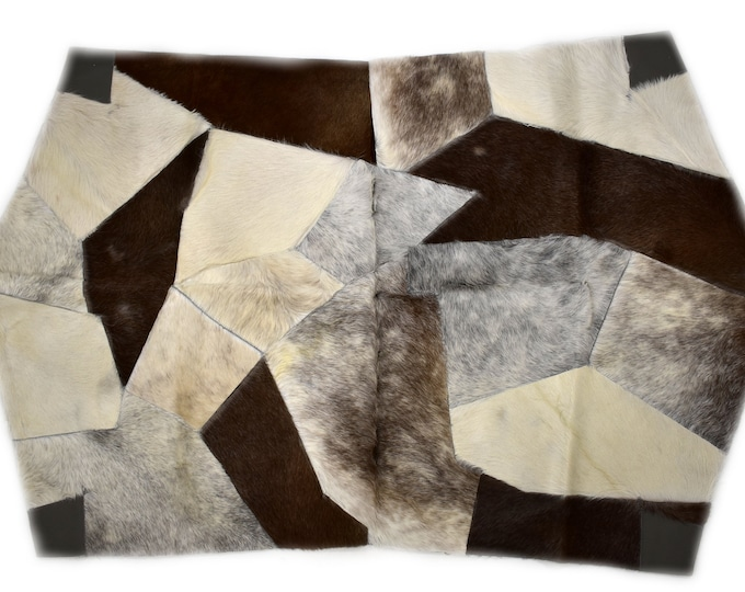 """AYDIN Modern Humanely Sourced Octagonal Cowhide Patchwork Accent Rug, Hair On Genuine Leather, Hand Tanned, Premium Quality, 3'7"""" x 5'9"""""""