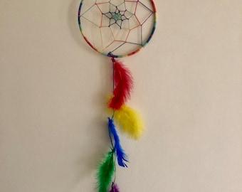 Dreamcatcher, Rainbow Dreamcatcher, All Natural Hemp, Feathers, Wall Art, Bedroom Decor, Wall Decor, 1