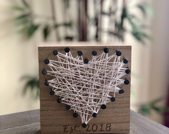 String Art, Heart, 2nd Anniversary Gift, Personalized Engraving
