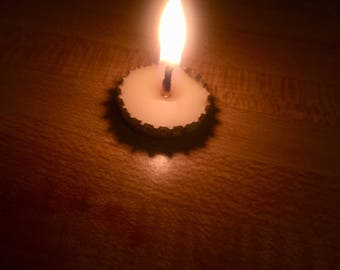 Tealight Bottlecap Candle, Recycled, Home Decor, Toxin-Free, Beeswax, Organic Hemp Wick, 100% Pure and Natural, Hand-Poured, Gift for Him, 1
