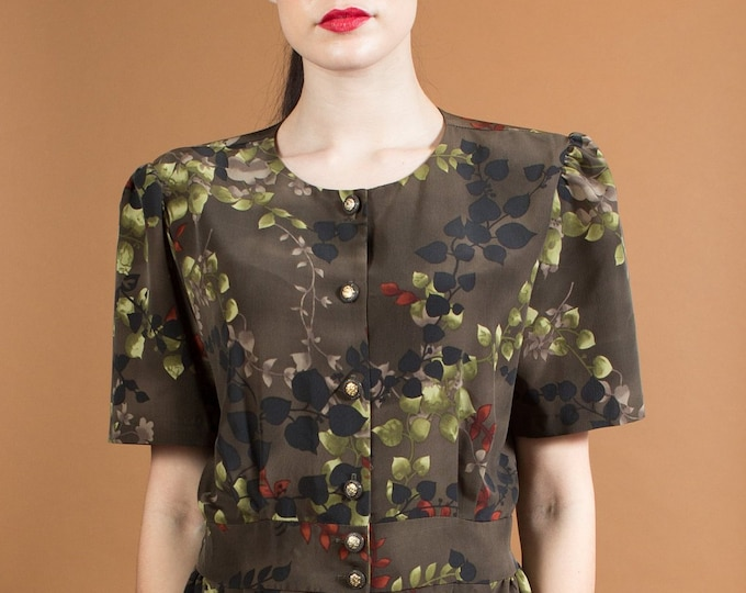 Vintage Green Dress - Dark Green Leafy Plant Pattern Shift Dress with with Scoop Neck