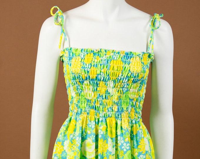 Beach Floral Dress - Vintage medium Size Florescent Green, Blue and Yellow Polyester Aloha Tiki Dress