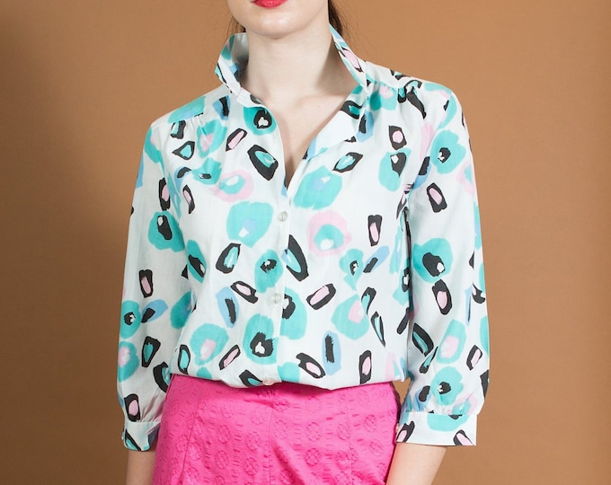 Vintage White Blouse with Allover Flintstones Geometric Pattern - Fresh Prince of Belair Lewks