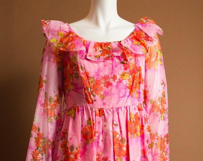 Hawaiian Floral Dress - Vintage Medium Pink Coloured Aloha Tiki Dress from Hawaii