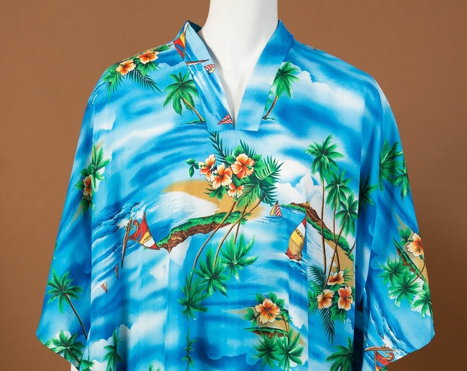 Hawaiian Beach Robe - Vintage One Size Blue Coloured Aloha Tiki Surf Dress from Hawaii