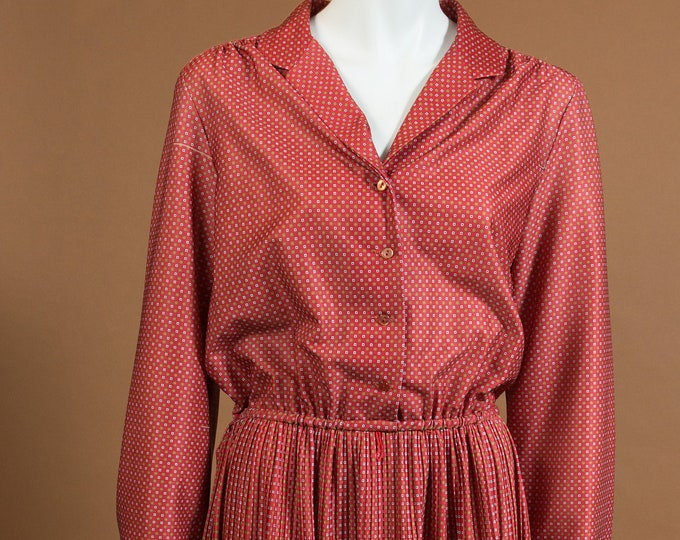 Vintage  Burnt Red Dress - Long Sleeve Geometric Allover Print Country Style Dress