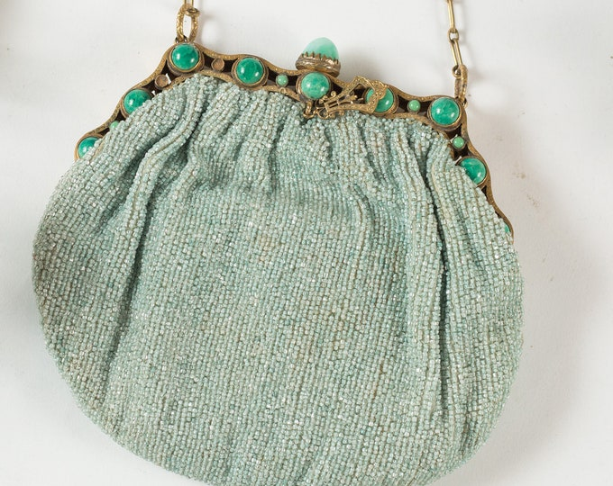 Vintage Allover Mint Green Beaded Hand Purse - Jadite / Jade Colored Purse or Carrying Bag with Clasp and Gemstones -Mother's Day