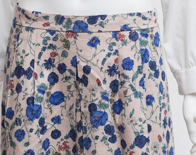 "Vintage Floral Skirt - 31"" High Waisted Spring Summer Beige Skirt with Blue Floral pattern and Button Waist"