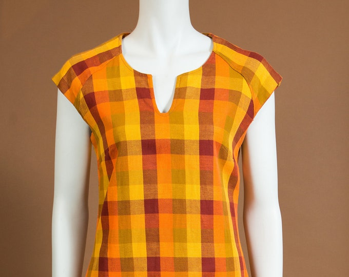 Vintage  Checkered Dress - Sleeveless Orange and Yellow Plaid Cowgirl Western Country Style Dress