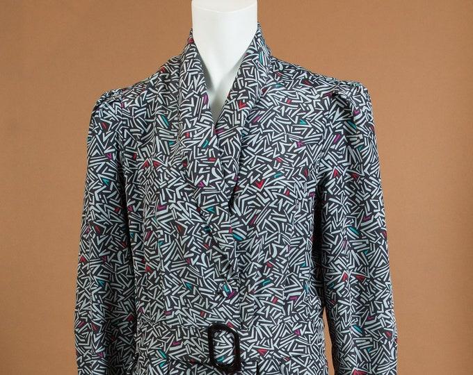 Vintage Grey Dress - Long Sleeve Geometric Allover Pattern dress