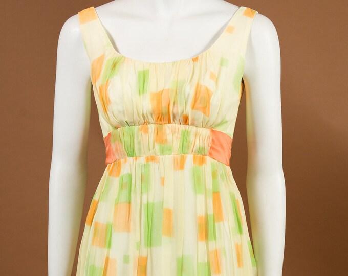 Hawaiian Tropical Dress - Vintage XS Pastel Yellow, Orange and Green Geometric Dress