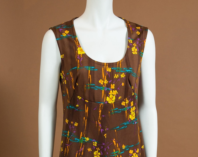 Brown Floral Dress - Vintage Medium Size Sleeveless Yellow FlowerPolyester Country Boho Hippie Style Dress