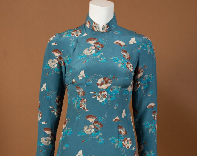 Vintage Cheongsam Dress with Blue and Brown Floral Pattern