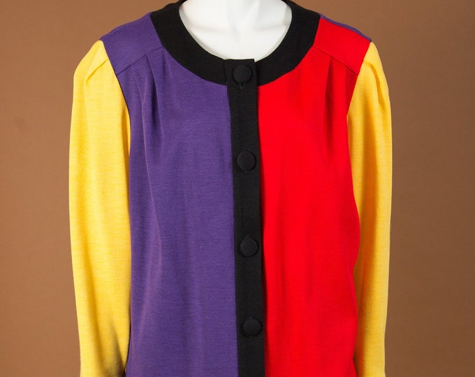 Vintage Colour block Suit -Cheerleader Style Multicolour Red, Black, Yellow and Purple Matching Shirt and Jacket - Made in Canada