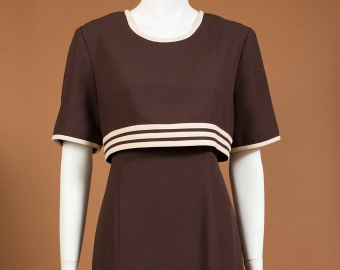 Brown Mod Dress - Vintage One Size Striped Short Sleeve Boho Style Dress with Scoop Beck and Beige Piping and Waist Tie Straps