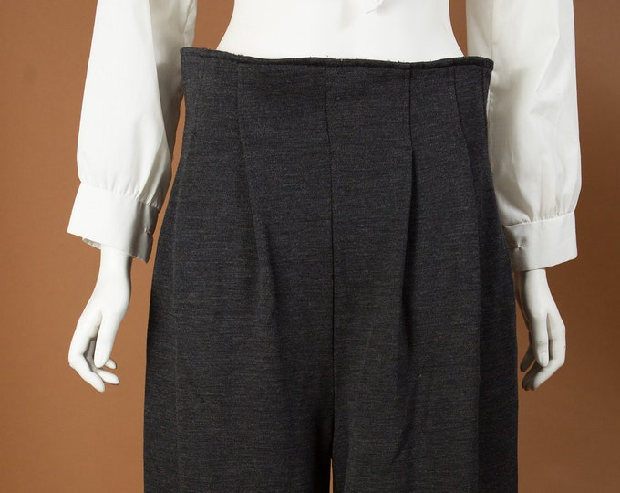 "Vintage Wide Pants - 30""-32"" Women's Grey stretchy Office Trousers"