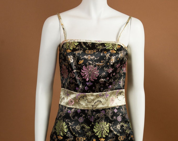 Asian Inspired Dress By Allen Schwartz - Gold Coloured Embroidered Flowers