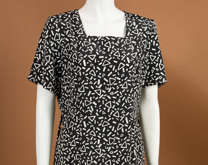 Vintage Black and White Dress - Short Sleeve Geometric Allover Pattern dress with Flintstones Vibes