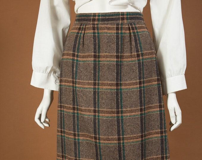 "Vintage Tartan Kilt Style Skirt - 24"" Waist Brown and Green Plaid Checkered Wool Skirt - Spring Summer Scottish UK Skirt"
