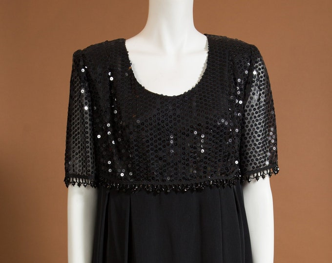 Vintage Black Dress - Sequin Top Scoop Neck Blouse - Wednesday Adams Prom Dress - Morticia Addams Vibes