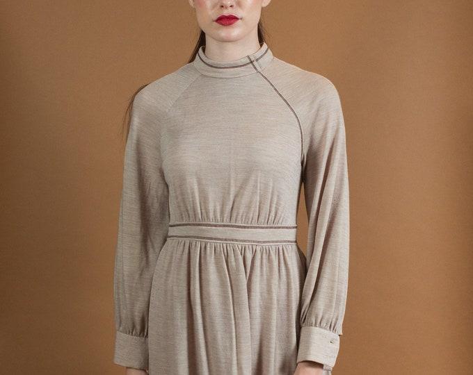 Beige Mod Dress - Light Brown Vintage Long Sleeve Lounge Style Dress